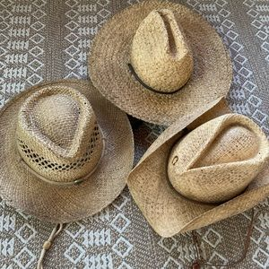 Three Straw-hats. Lightly worn. Different styles